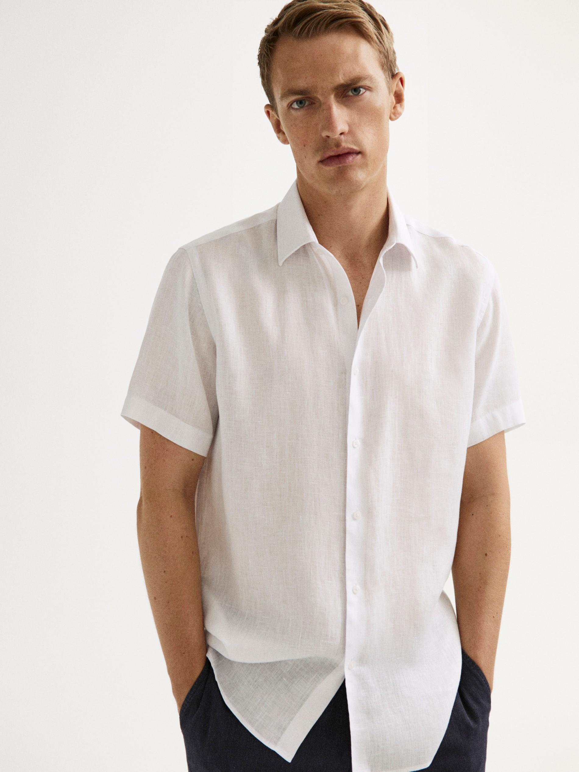 Men Tops Male Shirt Summer Cotton linen Tops Short Sleeves T Shirt Work Shirt