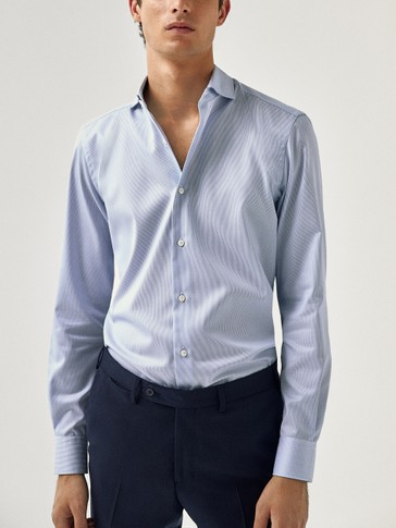 Slim fit pinstripe print 100% cotton shirt