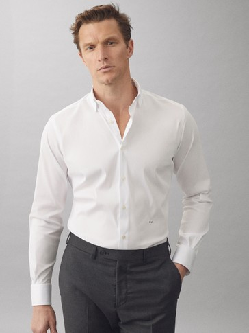 Cotton slim fit ottoman shirt