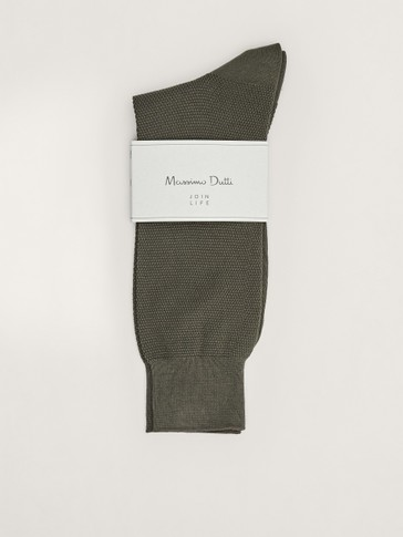 Waffle knit cotton socks