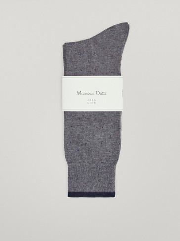 Mercerised cotton socks with micro polka dots