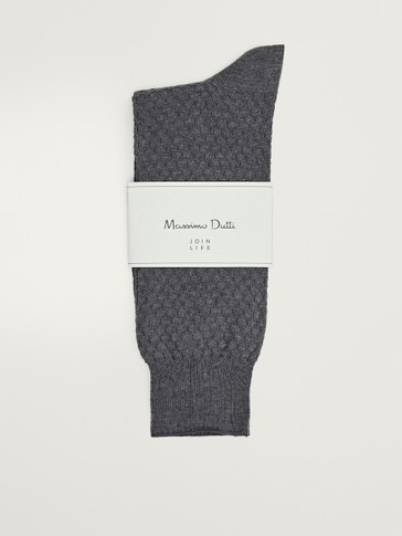 Textured mercerised cotton socks