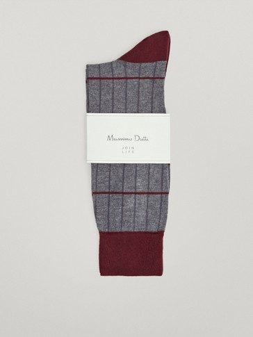 Stripped and ribbed cotton socks