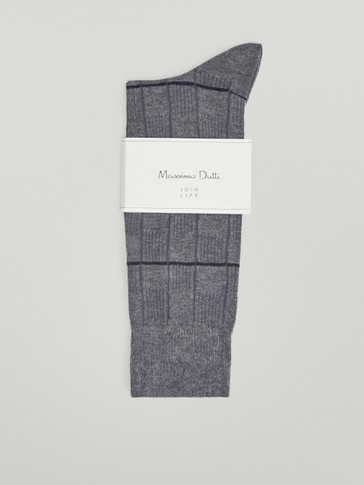 Striped ribbed cotton socks