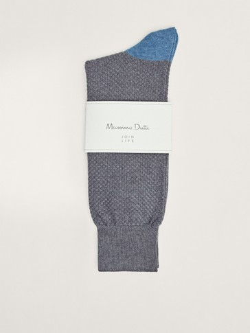 Contrast mercerised cotton socks