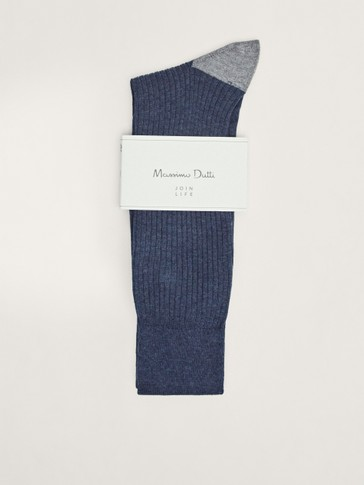 Marl ribbed cotton socks