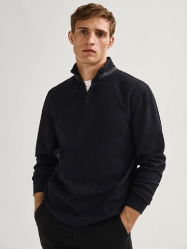 Wool mock neck sweatshirt