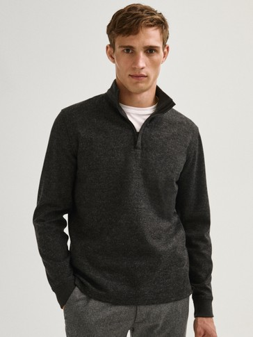 Wool mock neck sweatshirt