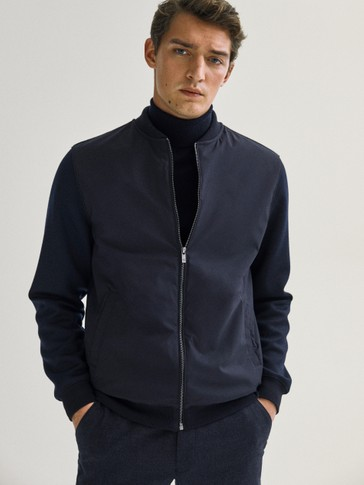 Navy blue combined jacket