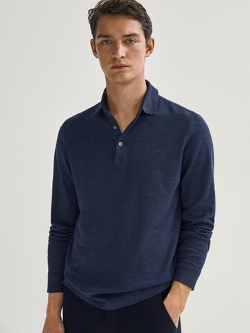 Cotton herringbone polo shirt