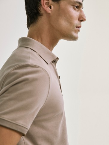 DOUBLE-COLLARED COTTON POLO