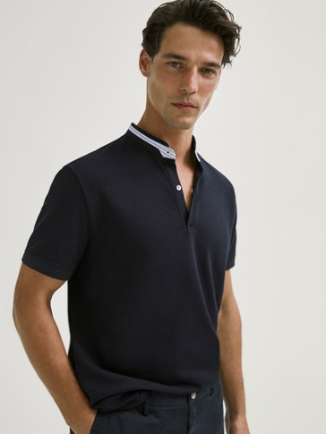 COTTON SHORT SLEEVE POLO SHIRT WITH STAND-UP COLLAR