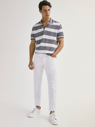 Striped cotton and linen polo T-shirt