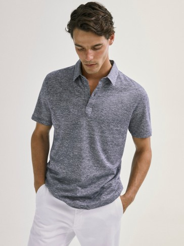 SHORT SLEEVE COTTON/LINEN POLO SHIRT