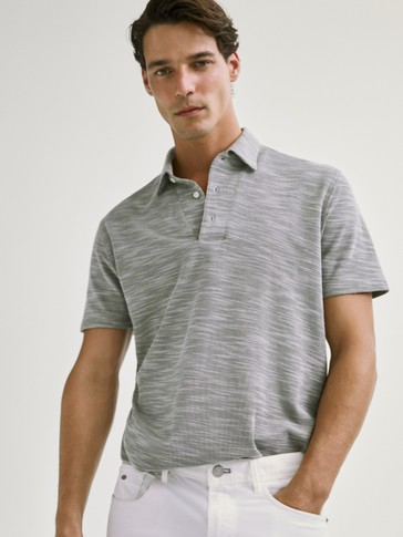 HONEYCOMB TEXTURED WEAVE COTTON POLO SHIRT
