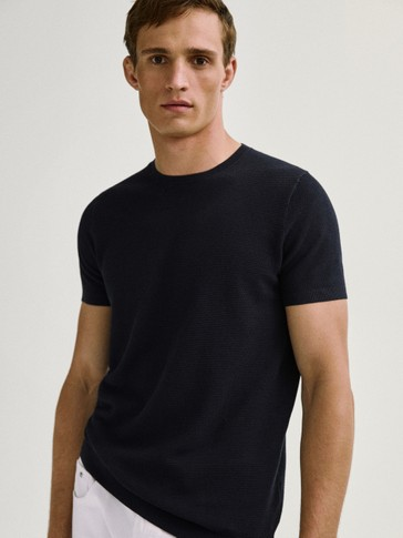 Short sleeve knit cotton T-shirt