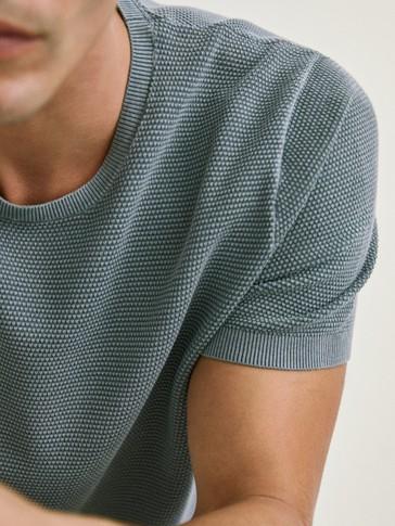 Camiseta de punto de manga curta de algodón