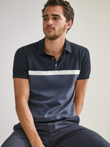 Colour block short sleeve polo sweater