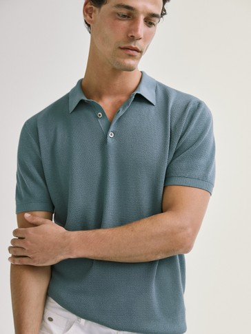 SHORT SLEEVE COTTON POLO SWEATER