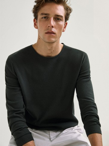Crew neck cotton sweater