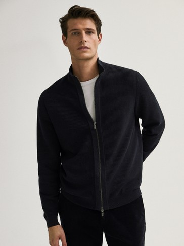 Zip-up cotton cashmere cardigan