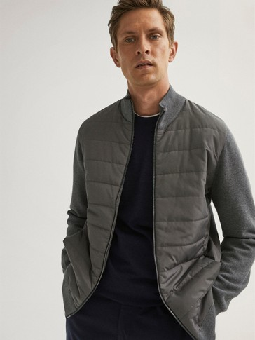 Combined quilted cardigan