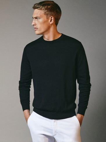 100% merino wool crew neck sweater