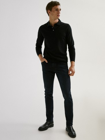 100% merino wool polo sweater
