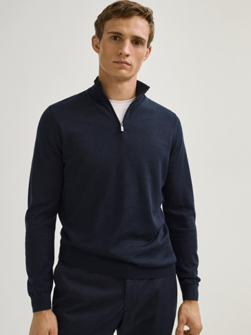 100% merino wool mock neck sweater