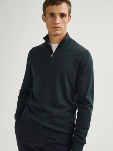 100% merino wool mock neck sweater