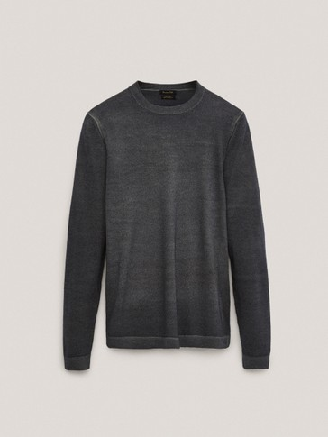 Rundhalset sweater in 100% merinould