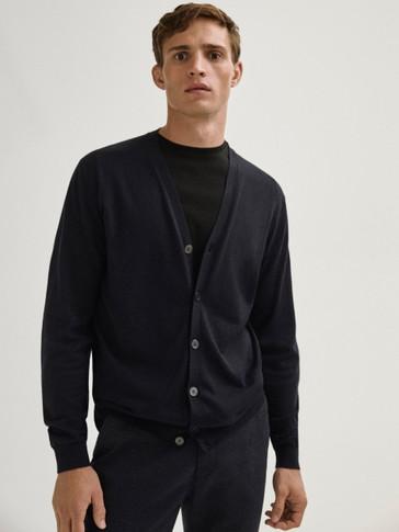 Cotton, silk and cashmere cardigan