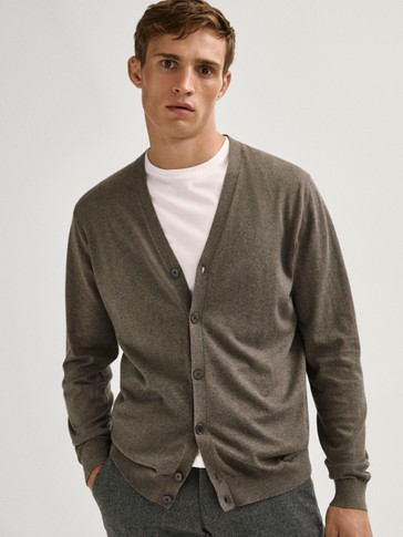 Cotton, silk and cashmere cardigan