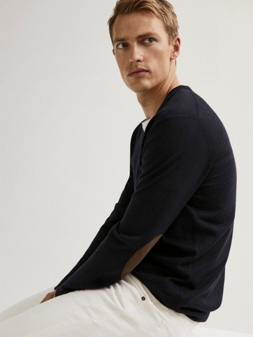 Cotton, silk and cashmere sweater with elbow patches