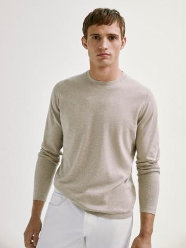 Jersey cuello redondo algodón seda