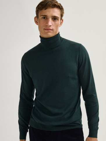 Cotton silk cashmere high neck sweater