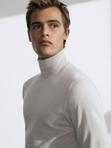Jersey cuello alto algodón seda cashmere