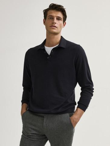 Pull style polo en coton et en soie