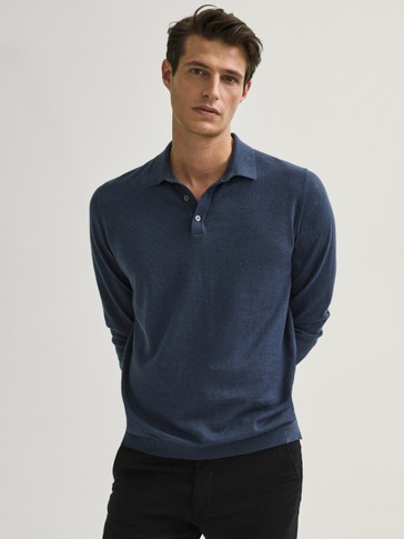 Пуловер с якичка от памук и коприна