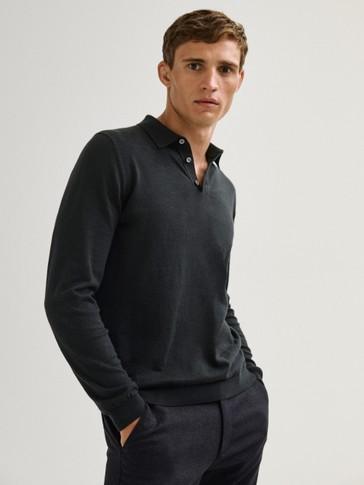 Pulover polo stila od mješavine pamuka i svile