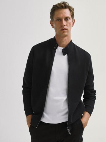 Zipped cotton cardigan