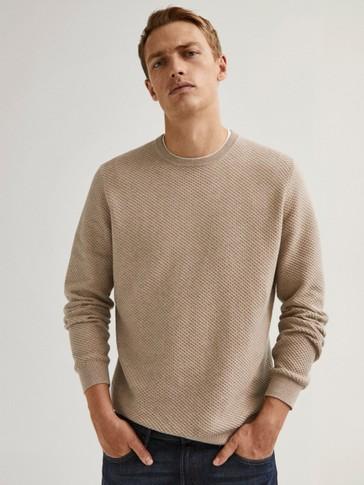 Medvilnės ir kašmyro megztinis apskrita iškirpte