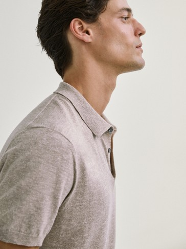 DYED COTTON/LINEN POLO SWEATER