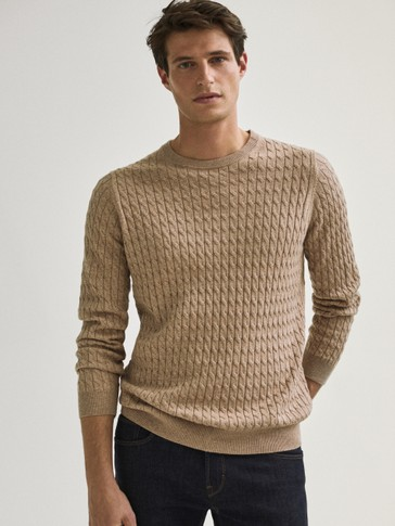 Cotton/silk cable-knit sweater