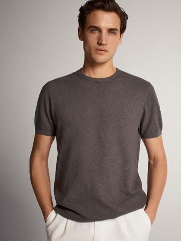 CREW NECK COTTON/LINEN T-SHIRT SWEATER