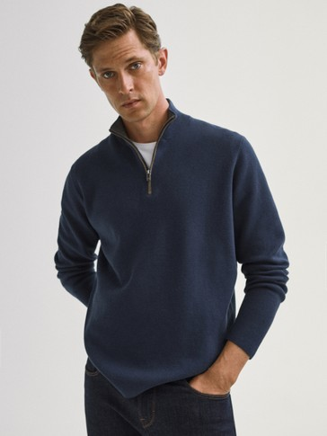 Cotton/silk mock neck sweater