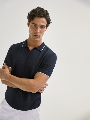 COTTON/LINEN POLO SWEATER WITH STRIPE DETAIL