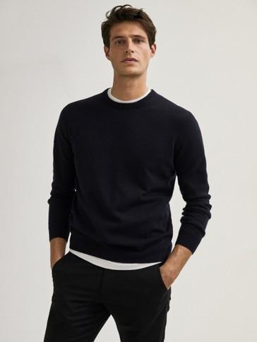 Jersey cuello redondo lana cashmere