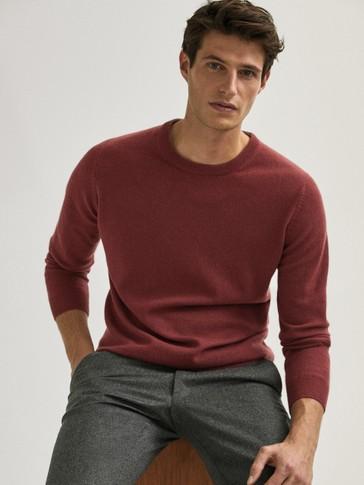 Sweter z wełny i kaszmiru z okrągłym dekoltem