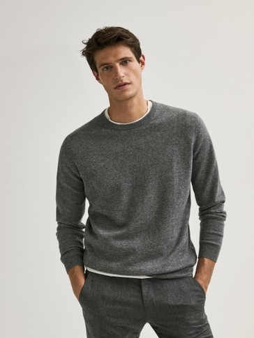 Wool cashmere crew neck sweater